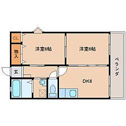 奈良県葛城市八川の賃貸アパートの間取り