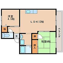 奈良県奈良市六条2丁目の賃貸アパートの間取り