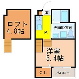 名古屋市営東山線 八田駅 徒歩6分の賃貸アパート 2階1SKの間取り