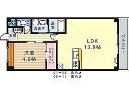 泉北高速鉄道 栂・美木多駅 徒歩10分の賃貸アパート 2階1LDKの間取り