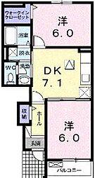 香川県さぬき市長尾東の賃貸アパートの間取り