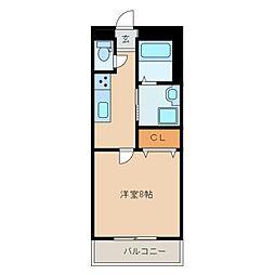 バーデンバーデンII 2階1Kの間取り