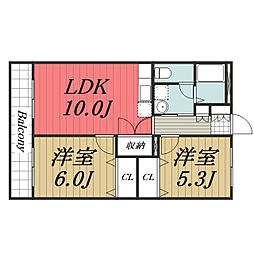 千葉県四街道市もねの里3丁目の賃貸マンションの間取り