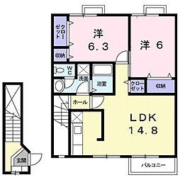 エビナ−ルK[2階]の間取り