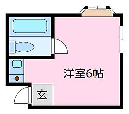 初芝アパートメント 2階ワンルームの間取り