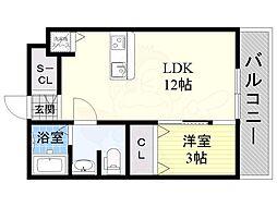 阪急京都本線 上新庄駅 徒歩7分の賃貸アパート 1階1LDKの間取り