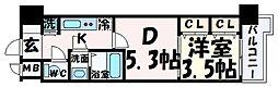 JR東海道・山陽本線 三ノ宮駅 徒歩9分の賃貸マンション 3階1DKの間取り