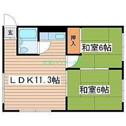 北海道札幌市東区北二十五条東10丁目の賃貸マンションの間取り