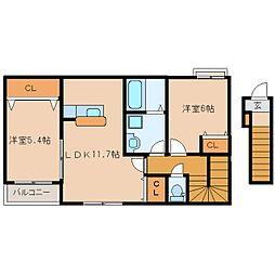 近鉄奈良線 東生駒駅 バス15分 さつき台住宅下車 徒歩6分の賃貸アパート 2階2LDKの間取り