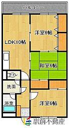 西鉄貝塚線 三苫駅 徒歩1分の賃貸マンション 1階3LDKの間取り
