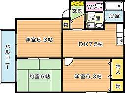 セゾン陣原[2階]の間取り