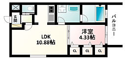 Osaka Metro御堂筋線 新大阪駅 徒歩5分の賃貸マンション 4階1LDKの間取り