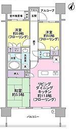 東京都大田区大森南2丁目の賃貸マンションの間取り
