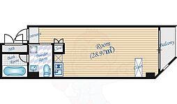 Osaka Metro谷町線 中崎町駅 徒歩3分の賃貸マンション 4階ワンルームの間取り