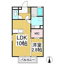 長野県長野市篠ノ井会の賃貸アパートの間取り