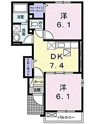 クリスタルコート C[1階]の間取り
