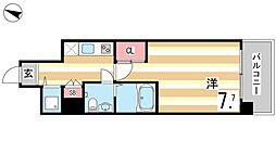 JR東海道・山陽本線 甲南山手駅 徒歩10分の賃貸マンション 5階1Kの間取り