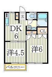 千葉県流山市江戸川台西1丁目の賃貸アパートの間取り