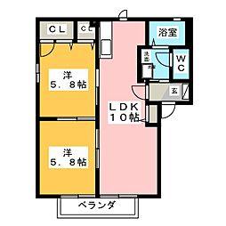 アクウェリアス B[2階]の間取り