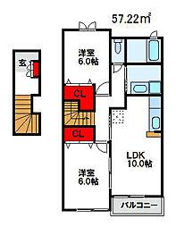 カルム尾崎 B棟[2階]の間取り