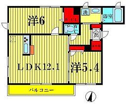 東京都足立区六木3丁目の賃貸マンションの間取り
