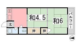 川畑ハイツ[201号室]の間取り