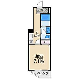 M'PLAZA香里五番館 4階1Kの間取り