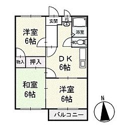 サンパール脇田B棟 1階[3号室]の間取り