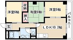 愛知県名古屋市緑区鶴が沢2丁目の賃貸マンションの間取り
