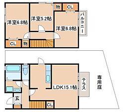 兵庫県神戸市須磨区東落合3丁目の賃貸アパートの間取り