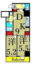 東京メトロ日比谷線 三ノ輪駅 徒歩12分の賃貸マンション 6階2DKの間取り