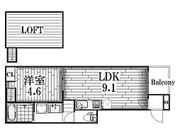 ヴィラクレール[1階]の間取り