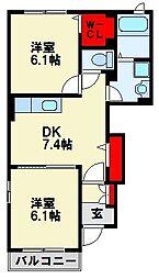 ベルコリーヌ B棟[1階]の間取り