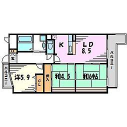 ユーコート武庫之荘[4階]の間取り