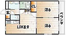 福岡県北九州市若松区片山1丁目の賃貸マンションの間取り