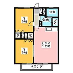 パステルガーデン石井B棟[2階]の間取り