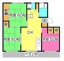 東京都東久留米市滝山7丁目の賃貸マンションの間取り
