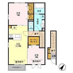 埼玉県八潮市大字二丁目の賃貸アパートの間取り