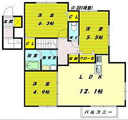 グラシュープラージュミトマE[2階]の間取り
