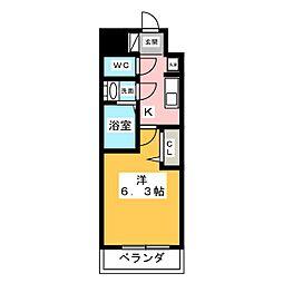 アステリ鶴舞トゥリア 6階1Kの間取り