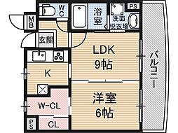 キャニスコート上新庄[8階]の間取り