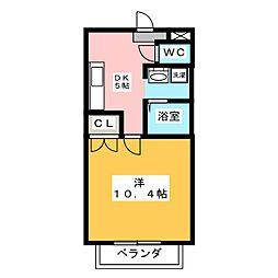 カーサ柳生園II[3階]の間取り