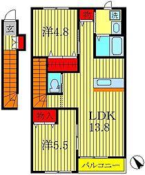 千葉県柏市永楽台1丁目の賃貸アパートの間取り