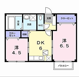 福岡県北九州市小倉南区長行西4丁目の賃貸アパートの間取り