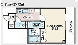 JR総武本線 馬喰町駅 徒歩5分の賃貸マンション 5階1Kの間取り