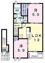大阪府高石市綾園6丁目の賃貸アパートの間取り