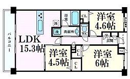 阪急神戸本線 六甲駅 徒歩6分の賃貸マンション 3階3LDKの間取り