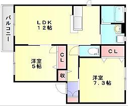 コンフォート那珂川[2階]の間取り