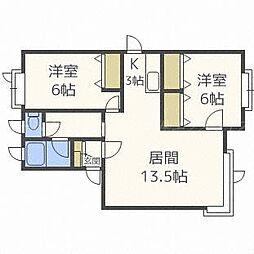 北海道札幌市北区太平四条4丁目の賃貸アパートの間取り