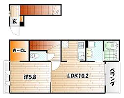 エレガントサキタ A棟[2階]の間取り